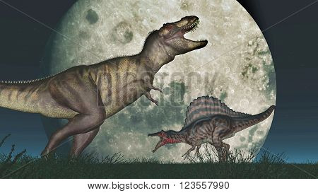 Computer generated 3D illustration with the dinosaurs Tyrannosaurus Rex and Spinosaurus in front of the moon