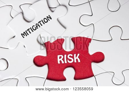 Risk Mitigation. Missing jigsaw puzzle pieces with text