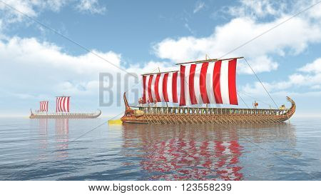 Computer generated 3D illustration with two triremes of ancient Greece