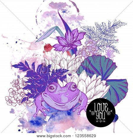Abstract pond water flowers vector greeting card, Purple botanical shabby chic illustration iris, lily, frog, wildflowers leaves and twigs Floral design elements.