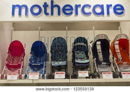 BANGKOK THAILAND - JANUARY 7 2016 : Section of baby carriages Mothercare in supermarket Siam Paragon. Siam Paragon is a one of the biggest shopping centres in Asia.