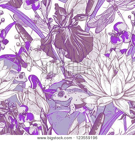 Vintage pond water flowers vector seamless pattern, Botanical shabby chic illustration iris, lily, frog, reeds, butterfly wildflowers dragonfly leaves and twigs