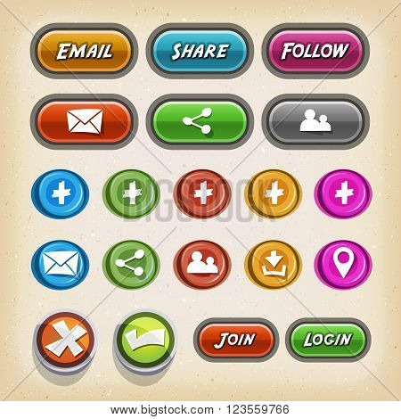 Illustration of a set of cartoon flat design simple ui icons and buttons elements for game ui on mobile and tablet pc