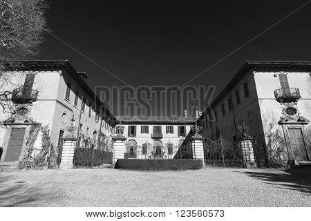 Historic villa in Brianza near Tregasio (Monza Lombardy Italy). Black and white