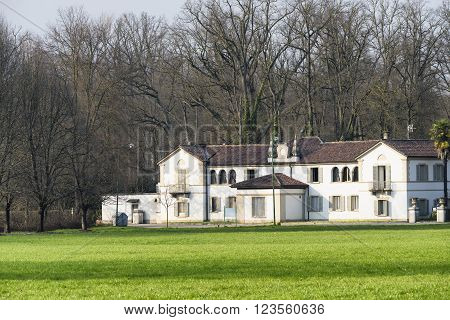 Monza (Brianza Lombardy italy): white villa in the park at winter
