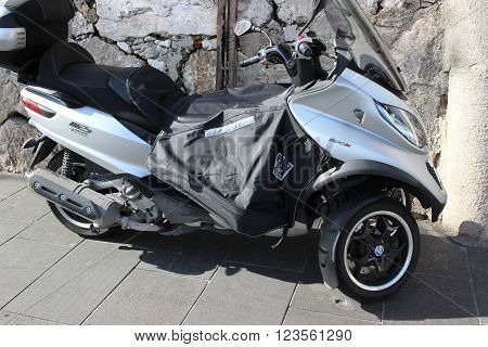 Nice France - February 15 2016: Motorbike Piaggio MP3 500 i.e Parked in the street of Nice France