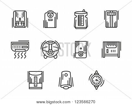 Heating, ventilation and conditioning equipment. Humidifier and dehumidifier, air ionization. Home and office climate. Collection of black line style vector icons. Elements for web design and mobile.