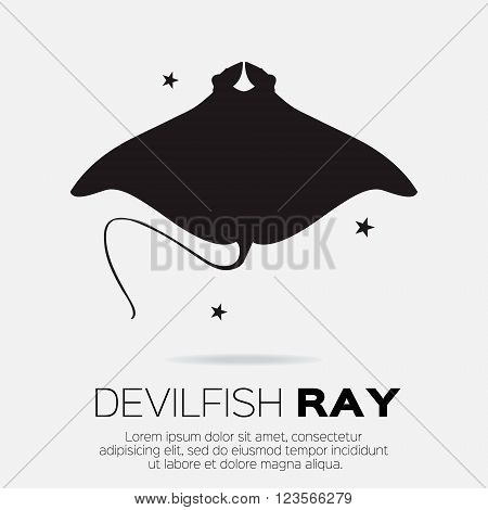 Devil fish ray. Vector silhouette of sea creatures.
