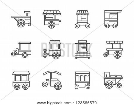 Street retail and wheel market. Trade cart. Street food kiosk and trolley. Collection of black line style vector icons. Elements for web design and mobile.
