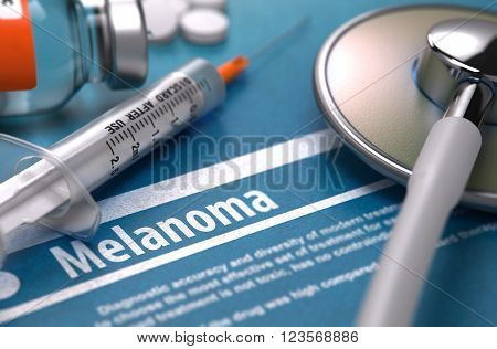 Melanoma - Medical Diagnosis on Blue Background with Blurred Text and Composition of Pills, Syringe and Stethoscope. 3D Render.