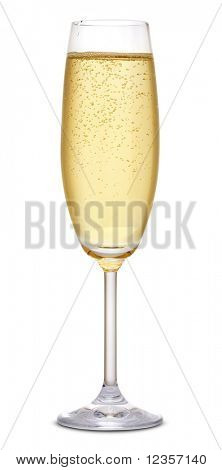 Glass of champagne on white background