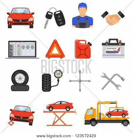 Car Service Flat Icons Set for Poster, Web Site, Advertising like Laptop, Tow, Battery, Jack and Mechanic.