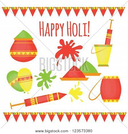 Indian Holi traditional festival of colours, design elements in indian style, hinduism colorful celebration with vivid multicolored powder.