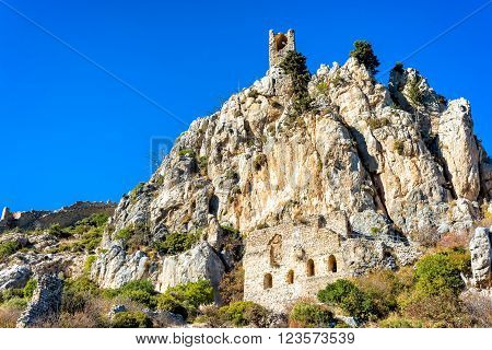 Saint Hilarion Castle a large castle complex halfway between Kyrenia and Nicosia in Cyprus.