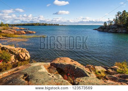 Red granite rock formation at Georgian Bay Killarney Provincial Park Ontario  Canada