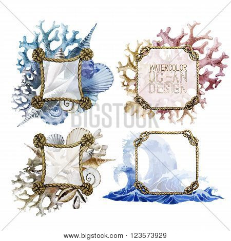 Watercolor rope frames with ocean design. Waves, shells and corals on background. Vector set isolated on white