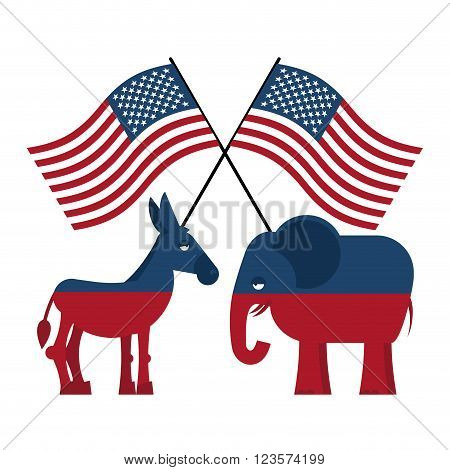 Elephant And Donkey. Symbols Of Democrats And Republicans. Political Parties In United States. Illus