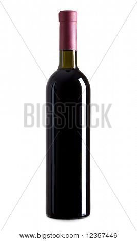 Flasche isolated over white Background Rotwein