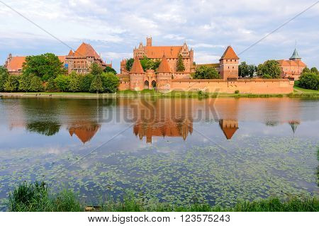 Teutonic German order Malbork Castle at sunset from across the Nogat river