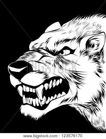 Vector illustration of a wolfish grin on black