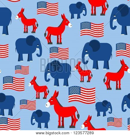 Elephant And Donkey Seamless Pattern. Symbols Of Democrats And Republicans. Texture For Election And
