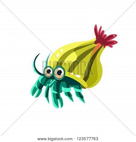 Hermit Crab. Cute Vector Illustration Collection of sea life