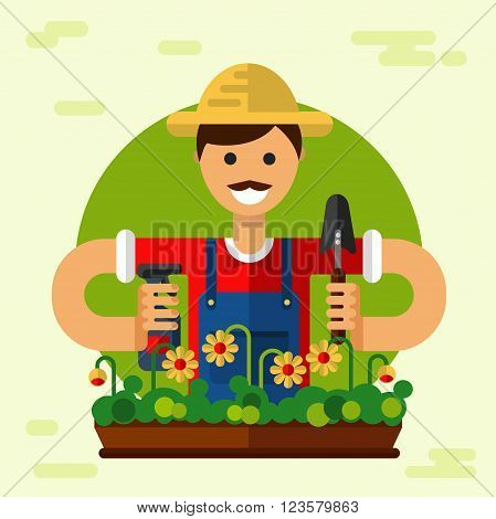 Vector flat style illustration of smiling gardener with mustache in hat, standing with sprayer and scoop. Flowerpot with flowers. Gardening and agriculture concept.