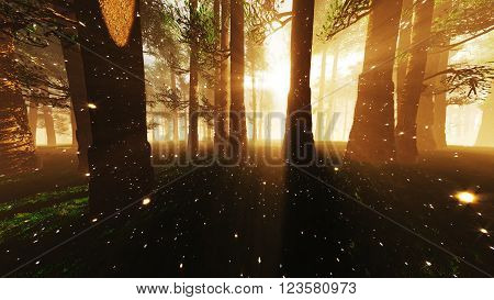 Mystic Fantasy Woods with Lightrays and Fireflies 3D Illustration poster