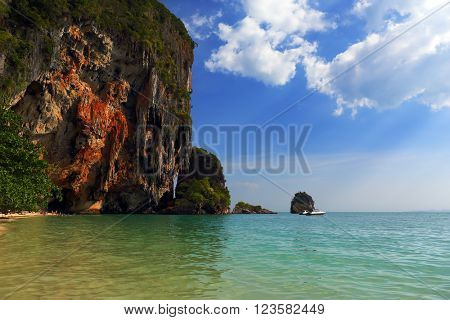 Landscape with tropical beach (Pranang beach) and rocks, Krabi, Thailand