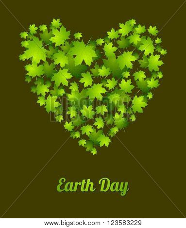 Earth Day ecology green abstract background. Heart from leaves. Summer vector graphic design