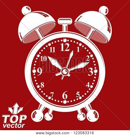 White Alarm Clock Vector 3D Illustration Isolated On Red Backdrop, Wake Up Conceptual Icon. Graphic