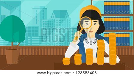 Woman with magnifier and golden coins.