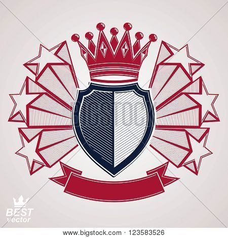 Royal Stylized Vector Graphic Symbol. Shield With 3D Flying Stars And Imperial Crown. Clear Eps8 Coa