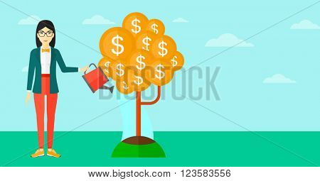 Woman watering money tree.