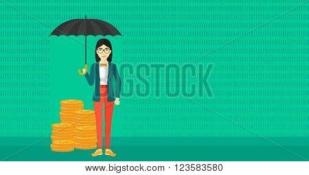 Woman with umbrella protecting money.