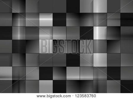 Abstract black futuristic squares background. Dark grey monochrome vector geometric squares design