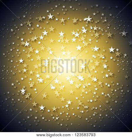 Dark yellow stars abstract vector background. Shiny bright graphic design