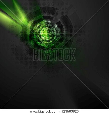 Dark green hi-tech design with grunge texture. Vector black technology gear background