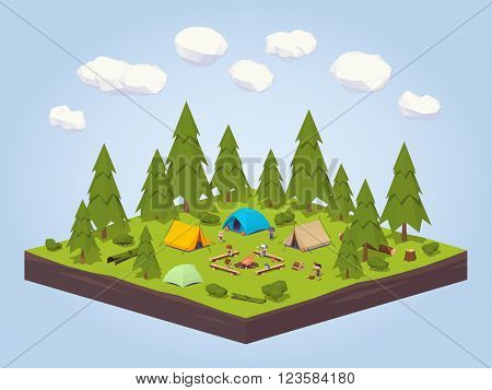 Campsite in the woods. 3D lowpoly isometric vector concept illustration