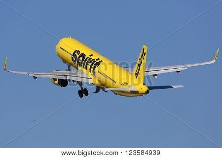 Spirit Airlines Airbus A321 Airplane Fort Lauderdale Airport