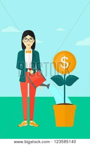 Woman watering money flower.