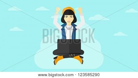 Woman sitting on cloud with laptop.