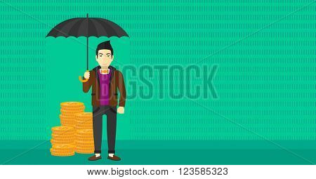 Man with umbrella protecting money.