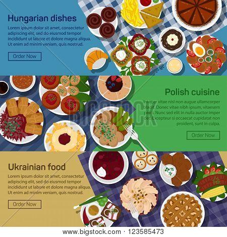 Vector flat illustration of ukrainian, hungarian, polish national dishes. Gulasch, flaki, bagel and kielbasa, bigos and eggs, bread and sausage, borscht. Eps 10