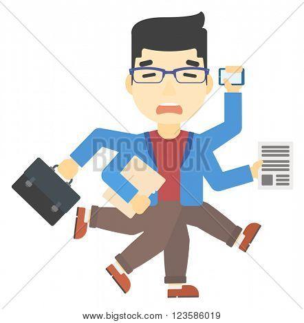 Man coping with multitasking.