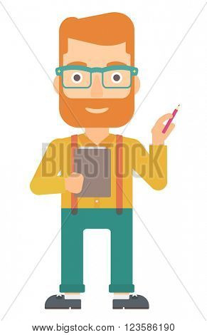Man standing with pen and file in hands.