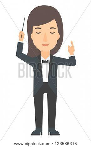 Conductor directing with her baton.