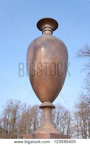 Porphyry vase in Summer Garden in St.Petersburg Russia.