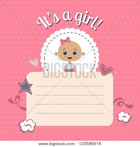 Cute baby shower invitation for girl. New baby shower card. It's a girl. Vector design template with space for your text