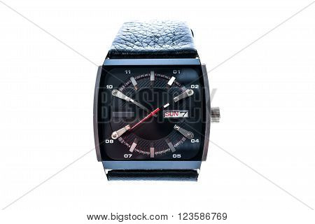 Mens Luxury Square Swiss Mechanical Wrist Watch With Leather Wristband Strap.